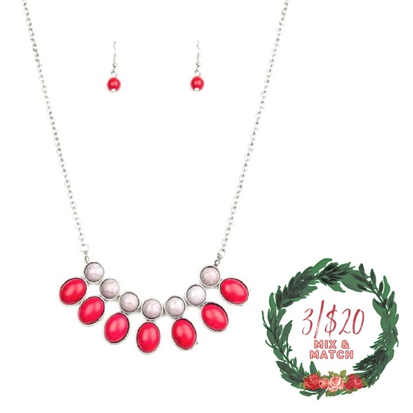 Gray & Red Stone Silver Necklace and Earrings
